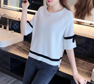 TP20111 Short Sleeve Loose Knit Top