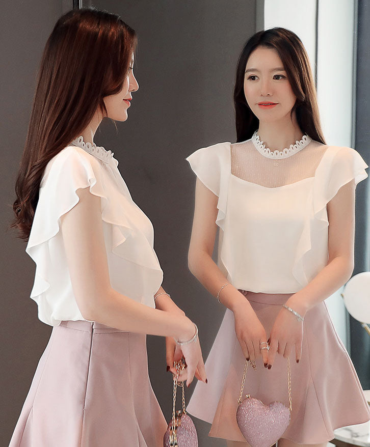 TP20150 Short Sleeve Round Neck Chiffon Ruffle Top