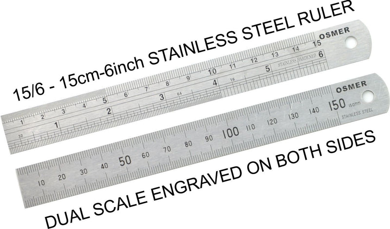 Ruler Stainless Steel 15cm 6 Inch Osmer Metric Imperial 156
