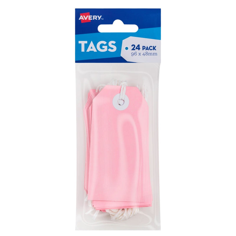 Craft Tag Avery 96x48mm With String Pink Pk24