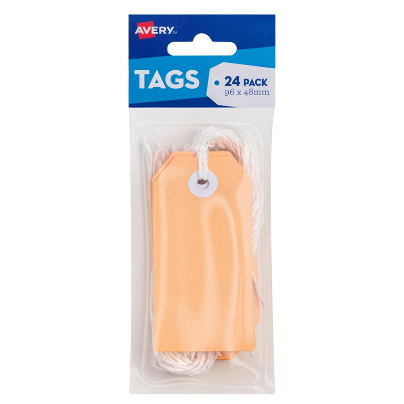 Craft Tag Avery 96x48mm With String Peach Pk24
