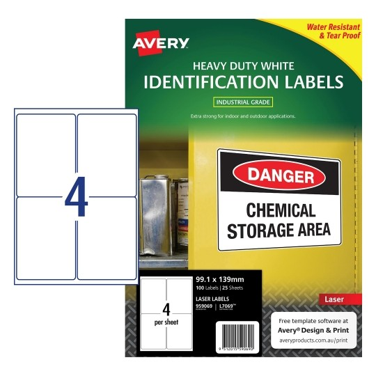 Label Avery Laser L7069 Parcel H/duty 99.1x139.0 4up Pk25
