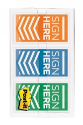 Flags Color Code Sign Here Post-it 24mm 682-sh-obl Orange/blue/lime Pk60