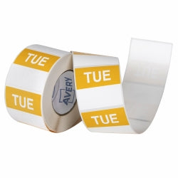 Label Avery 40x40mm Tuesday Removable Yellow/white 500/roll