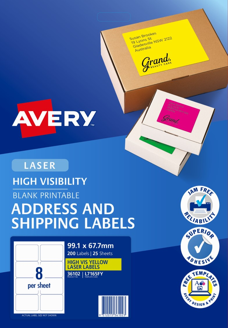 Sp- Label Avery L7165fy Shipping Hi Vis Fluoro Yellow 8up 25 Shts