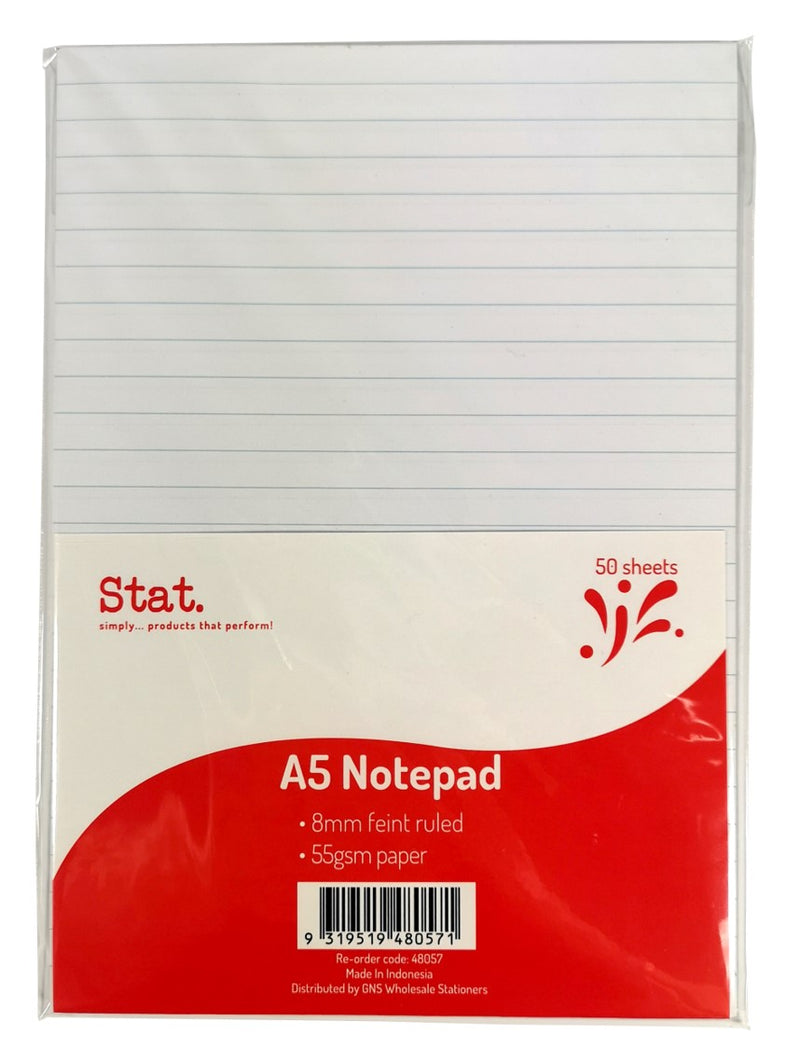 Notepad Stat A5 55gsm 8mm Ruling White 50sht