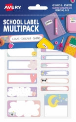 Labels Name Avery School Multipack Love Dream Shine 3 Sheets 42pk