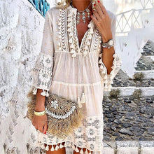 Load image into Gallery viewer, Women's V-Neck Lace Fringe Dress