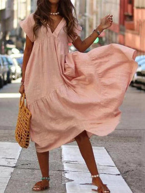 Casual Pure Colour V Neck Loose Dresses