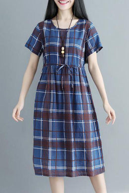 Round Neck  Drawstring  Checkered Shift Dress