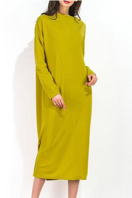Round Neck Long Sleeve Loose Shift Dress