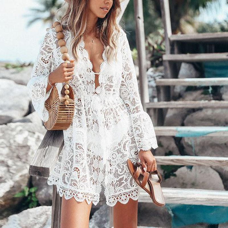 Sexy Lace Long Sleeve V-Neck Dress