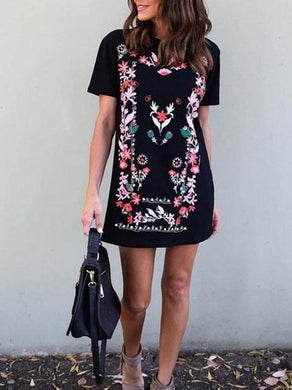 Bohemian Round Collar Printing Slim Mini Vacation Dress