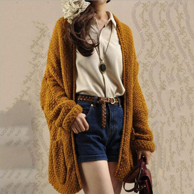 17070ff104 Solid Color Knit Cardigan Ladies Thick Sweater