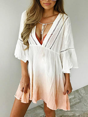 Deep V-Neck Hollow Gradient Print Seven-Point Trumpet Sleeve Beach Casual Mini Dress