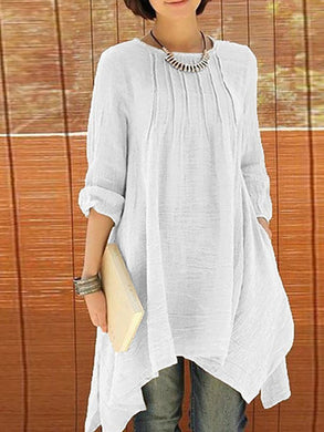 Crew Neck  Asymmetric Hem Cutout Inverted Pleat  Curved Hem  Plain  Roll-Up Sleeve Shift Dresses