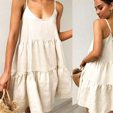 Summer Plain Sling Backless Loose Vacation Dress