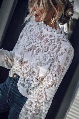 Fashion Lace Splicing Long Sleeve Shirt