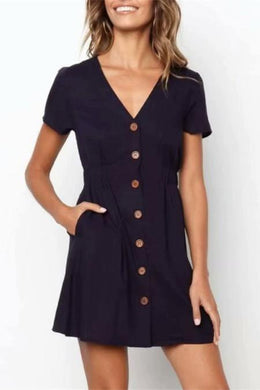 Fashion V Collar Plain Button Mini Shift Dress