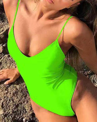 Fluorescent Backless Lace-Up Bikini