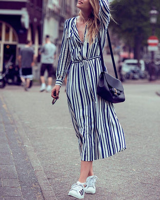 Waist Drawstring Blue Striped Shirt Dress