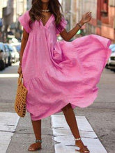 Load image into Gallery viewer, Casual Pure Colour V Neck Loose Dresses