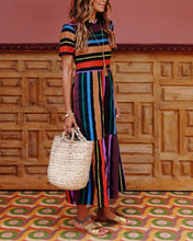 Load image into Gallery viewer, Rainbow Stripe Print Colorblock Holiday Dress