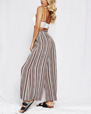 High-Waist Printed Lace-Up Wide-Leg Pants