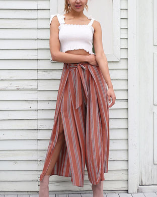 High-Waisted Striped Wide-Leg Pants