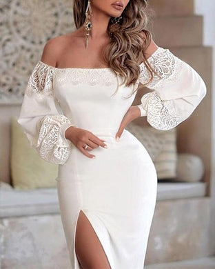 One-Shoulder Puff Sleeve Lace Panel Split Dress