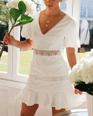 V-Neck Waist Lace Dress