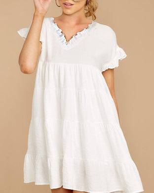 Sweet V Neck Short Sleeve Nipped Waists Pure Colour Dress