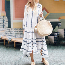Load image into Gallery viewer, Athleisure Printed Color Long Sleeve V Neck Casual Maxi Dress