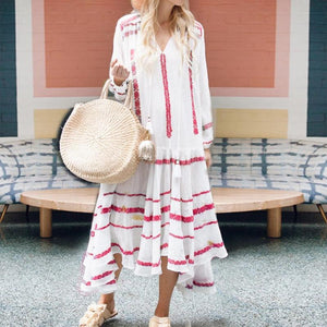 Athleisure Printed Color Long Sleeve V Neck Casual Maxi Dress