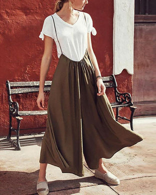 Pure Color Casual Loose Wide Leg Pants