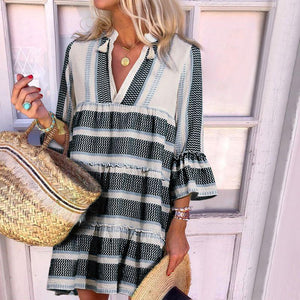 Sweet Deep V Neck Stripe Petal Sleeve Loose Casual Mini Dress