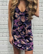 Load image into Gallery viewer, Casual V Neck Sleeveless Printed Colour Dress
