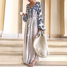 Load image into Gallery viewer, Bohemian Deep V Printed Long Sleeve Dresses