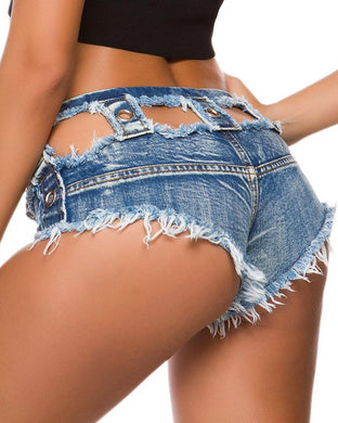 Sexy Low-Waisted Broken Holes Denim Shorts.