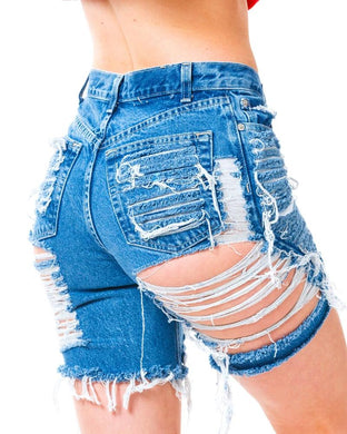 Sexy High-Waisted Broken Holes Tearing Edge Denim Shorts