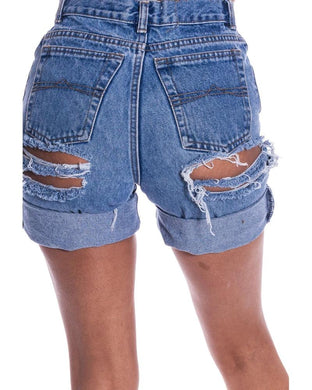 Sexy Pure Color High Waist Broken Holes Tearing Edge Denim Shorts