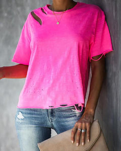 Casual Broken Hole Solid Color T-Shirt
