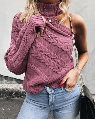 Pure Color Open Shoulder One-Sleeved High-Necked Sweater