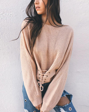 Autumn/Winter Pure Color Round Collar Long Sleeved Sweaters
