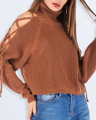 Sexy Strapless Off-The-Shoulder Solid Short Sweater