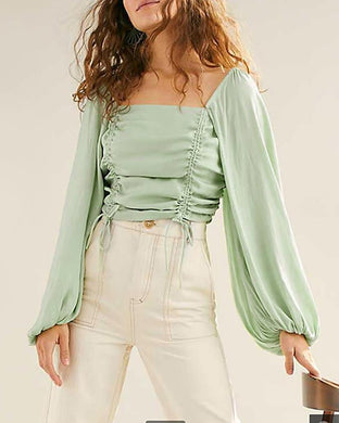 Casual Lantern Sleeve Collar Pleated Cropped T-Shirt