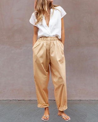 Fashion Solid Color V-Neck Short-Sleeved Shirt Trousers Suit