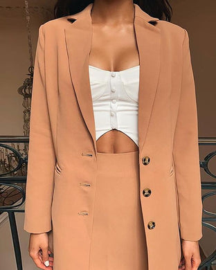 Fashion Solid Color Button Cardigan Pocket Small Suit