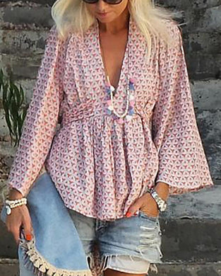 Casual V Neck Printed Colour Belted Blouse