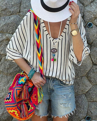Casual Print Stripe V-Neck Loose T-Shirts